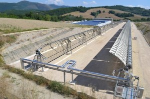 The new molten salt parabolic trough CSP demonstration plant in Massa Martana, Italy. Photo credit: Chiyoda Corporation