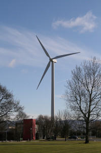 The wind turbine at Dundalk Institute of Technology (DkIT).