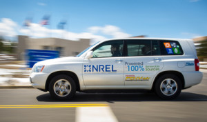 NREL employees get a chance to test drive one of the Toyota Highlander fuel cell hybrid vehicles