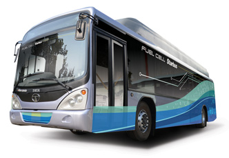 The Tata Motors Starbus Fuel Cell bus features hydrogen fuel cell technology