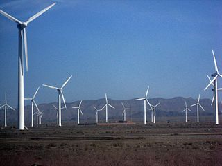 Wind farm in Xingiang, China.