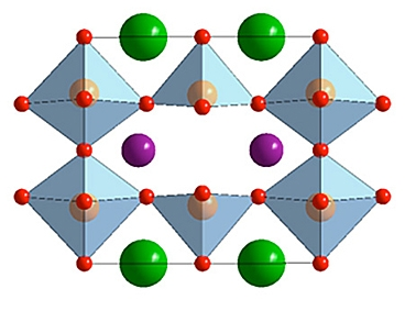 The double perovskite has atoms of barium (green) and a lanthanide (purple) within a structure of cobalt (pink) and oxygen (red). Photo credit: MIT research team