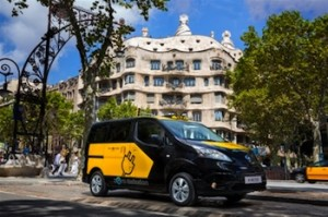 The new Nissan electric taxi will be manufactured and launched in Barcelona, Spain.