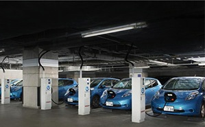 Nissan Leaf electric vehicles in a vehicle-to-grid energy storage trial.
