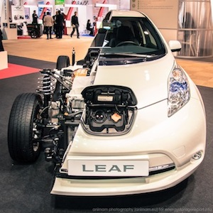 Sumitomo opens the world's first used electric vehicle battery energy storage system. Nissan Leaf lithium-ion batteries will regulate energy from a solar power plant in Osaka, Japan.