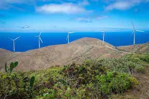 Enercon wind turbines at the Gorona del Viento wind and pumped hydro clean energy project, which will give El Hierro renewable energy sufficient to replace 80% of its diesel.