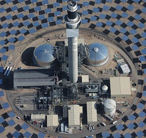 SolarReserve, the solar thermal power plant developer, intends to dramatically increase the temperature of molten salt storage with a grant from the SunShot Initiative. Photo credit: Crescent Dunes, SolarReserve
