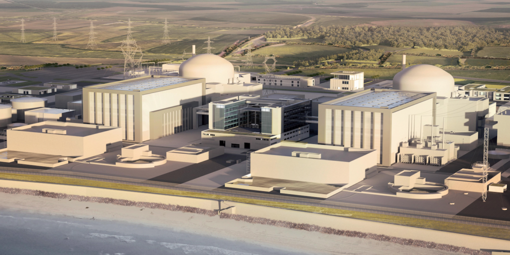 Artist's view of the Hinkley Point C nuclear plant. Image: EDF Energy.