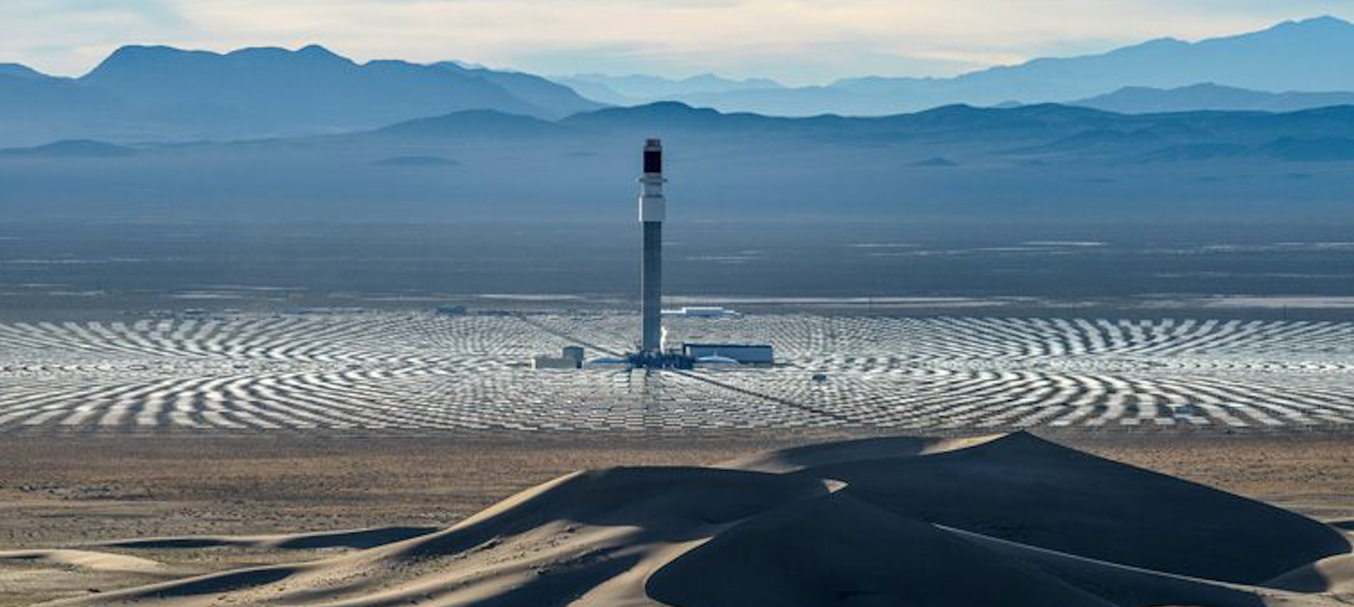 SolarReserve's Crescent Dunes CSP plant in the US has a 1.1GWh storage capability, about equal to all the world's utility-scale batteries combined. Pic: SolarReserve.