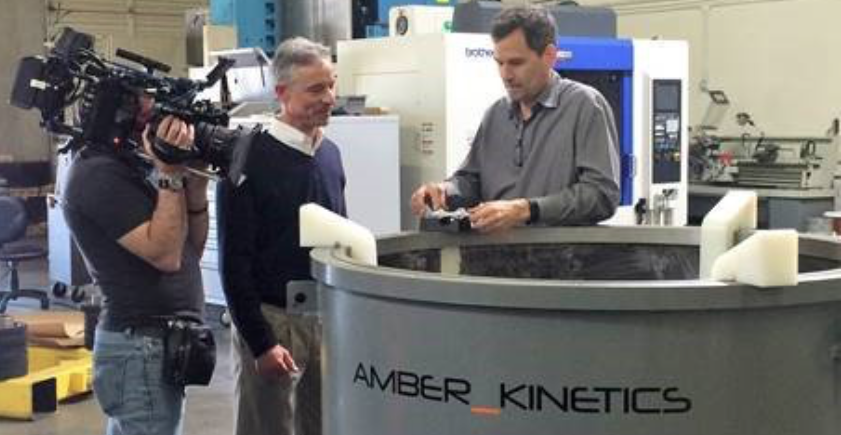 Amber Kinetics co-founder and chief scientist Dr Seth Sanders being featured on CBS. Pic: Amber Kinetics.