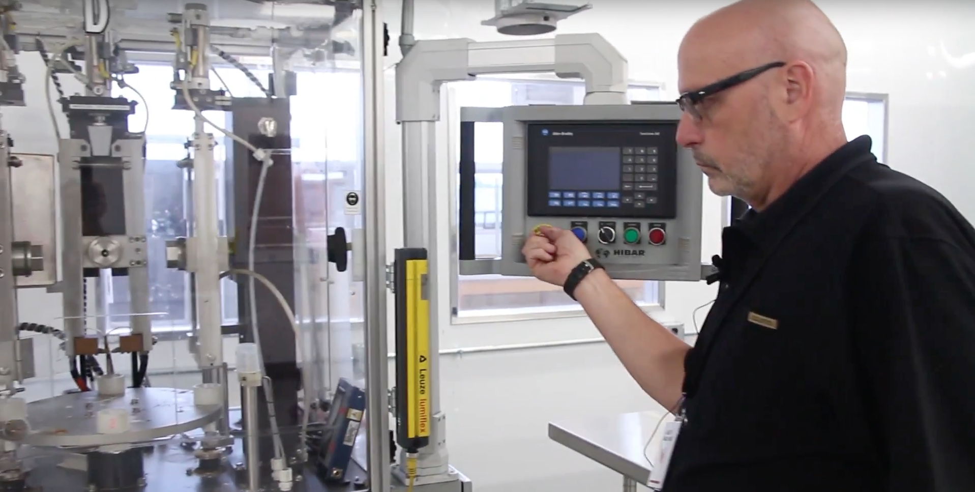 Battery and energy storage consultant Andy Naukam demonstrates equipment at the Kodak Cell Assembly Center. Pic: Kodak/YouTube.