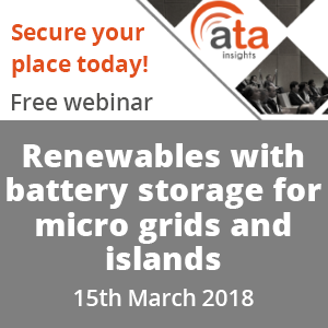 Webinar: Renewables with battery storage for micro grids and islands Thursday 15 March, 13:00 CET.