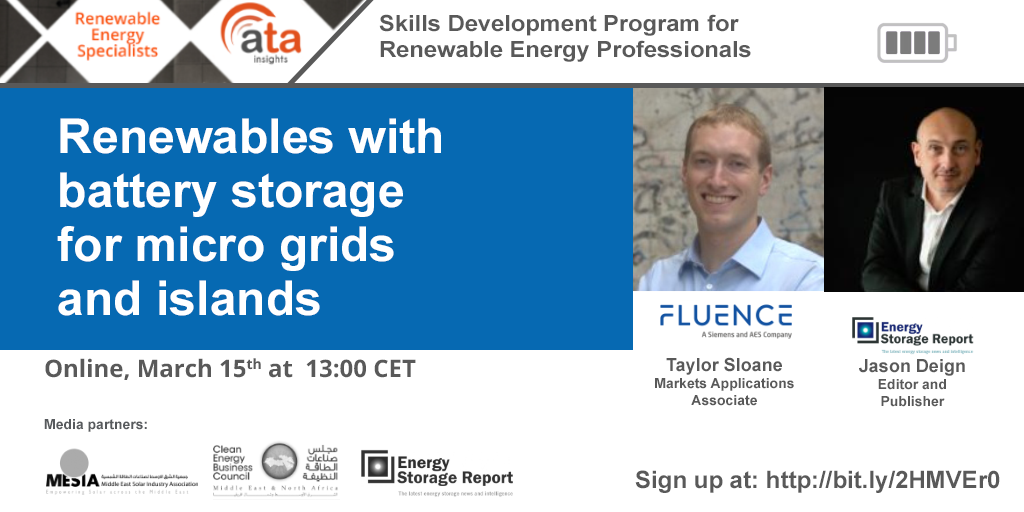 Battery storage is key to provide dispatchability in island and micro-grid systems! Hear from the experts of this topic in ATA Insights' next session.