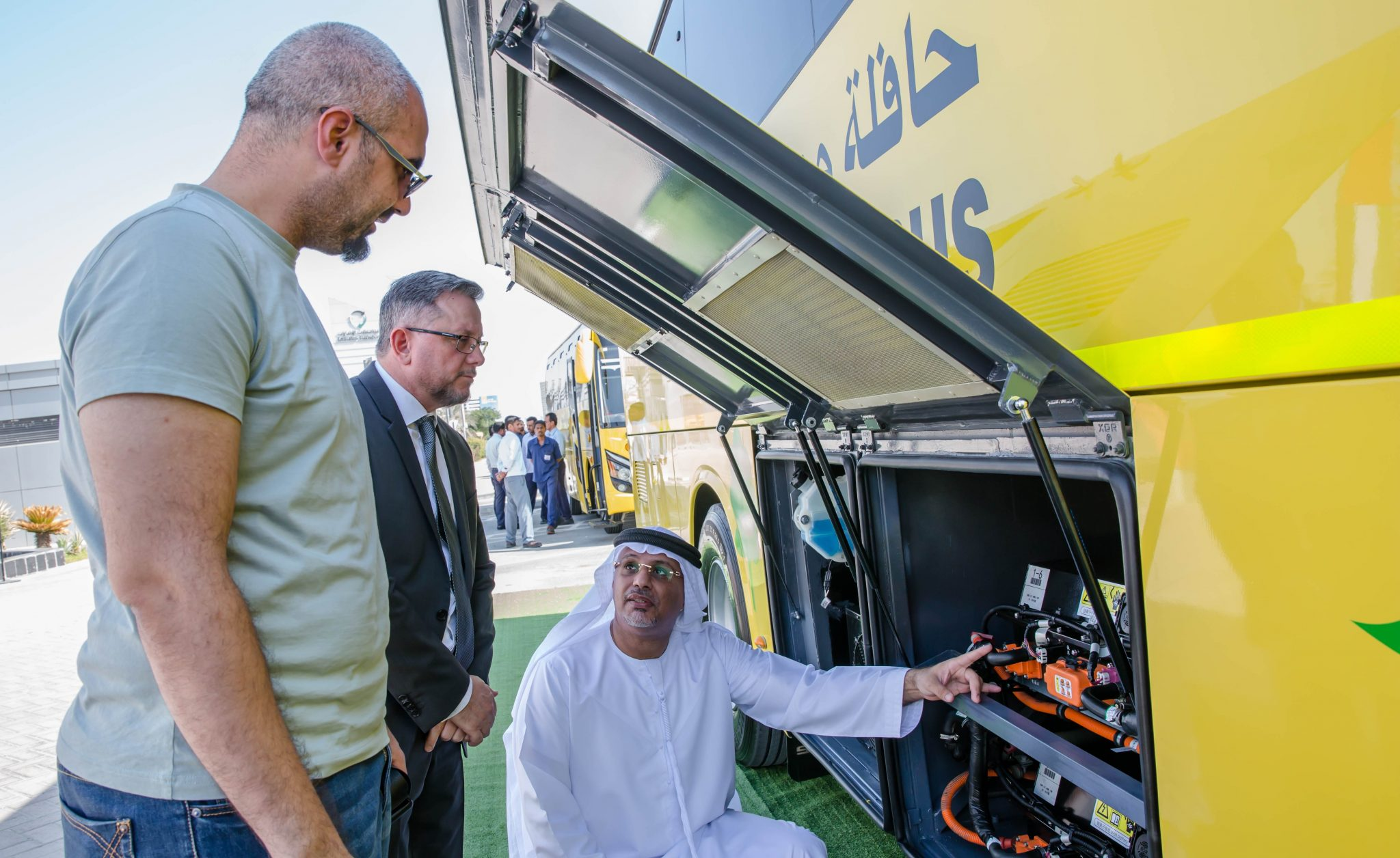 Emirates Transport tests an electric school bus from the Shanghai Sunwin Bus Cooperation. Chinese companies lead the way in bus electrification. Pic: Emirates Transport.