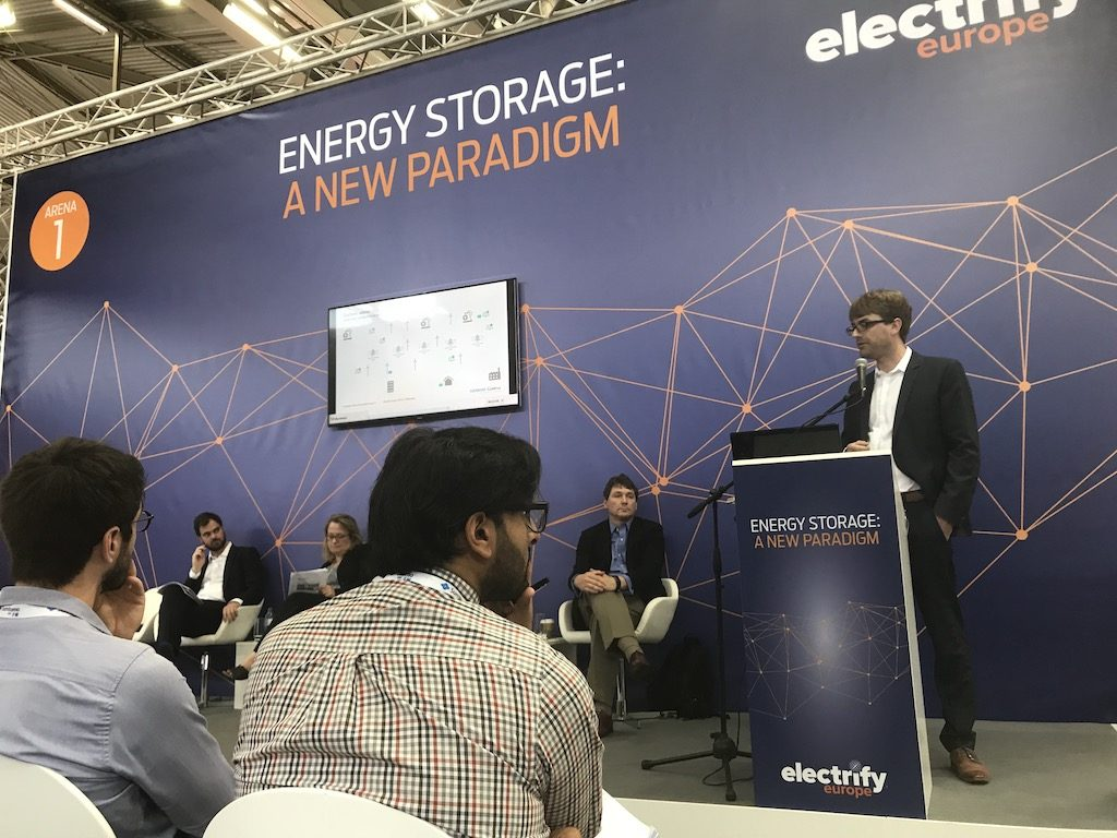 Siemens Gamesa project manager Till Barmeier addresses an audience at Electrify Europe in Vienna, Austria, last week.