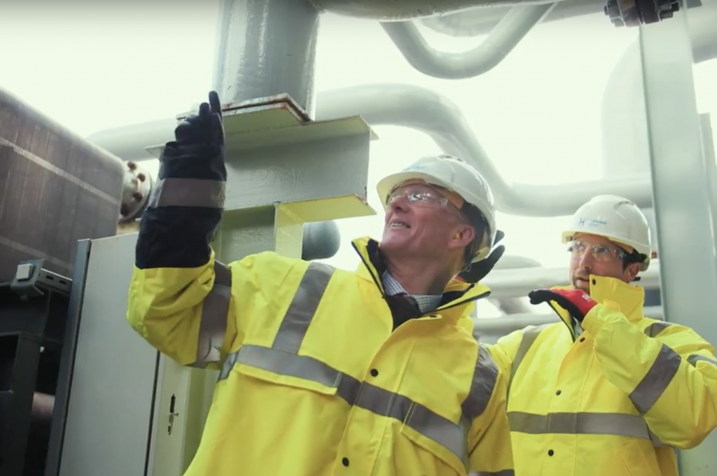 Highview Power CEO Gareth Brett (left) inspects the Pilsworth plant with engineering director Stuart Nelmes. Image: Highview Power/YouTube.