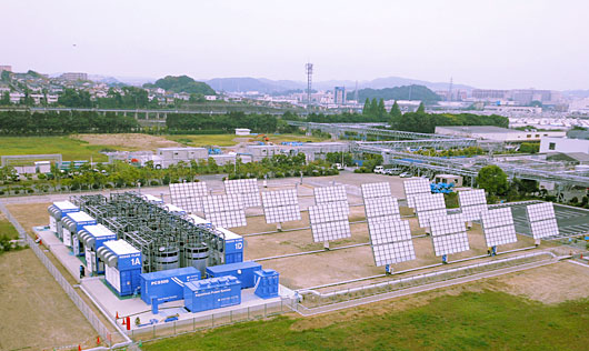 In 2012, Sumitomo completed a demonstration power generation and storage system at its Yokohama Works – using the world's then largest vanadium redox flow battery and Japan's largest concentrated photovoltaic (CPV) units. Photo credit: Sumitomo Electric Industries, Ltd.