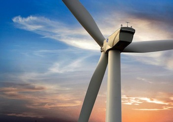 Novel technologies for wind energy storage at EWEA 2014 included the GE Power & Water brilliant turbine, understood to have been installed by Invenergy.